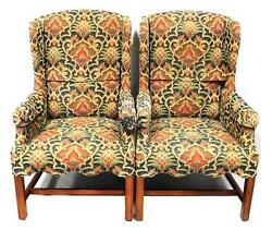 Pair of upholstered wing chairs 20th C. Georgian style with cyma-cu... Lot 225