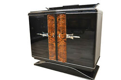 Black Art Deco Commode with Chrome Handles