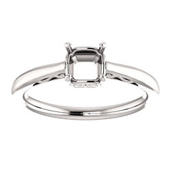 Semi Mount Setting Low set 10k White Gold Asscher Engagement Solitaire Mounting $399.99
