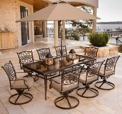 Patio Furniture Dining Sets Chairs Table Garden Outdoor Swivel 9 Piece Deck New