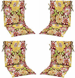 Set 4 Patio Chair Replacement Cushions Seat Pad Outdoor Garden Deck Furniture