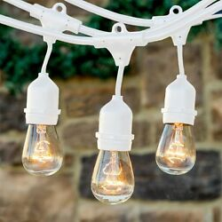 Outdoor Weatherproof Patio Deck Porch String Café Lighting White Wire 11S14 Bulb