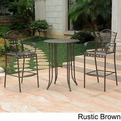 Wrought Iron Patio Furniture Bar Height Dining Set Bistro Balcony Rustic Brown