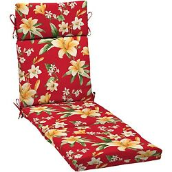 Chaise Lounge Cushion Patio Floral Pillow Chair Replacement Pool Outdoor Red NEW