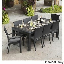 Patio Dining Set 9 Piece Wicker Chairs Table Cushions Outdoor Pool Seating Deck