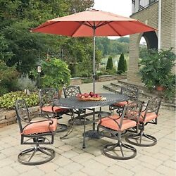 Bronze Oval 9 Pc Outdoor Dining Table 6 Swivel Rocking Chairs Cushions Umbrella
