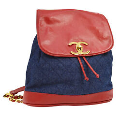 Auth CHANEL Quilted CC Logos Chain Backpack Bag Navy Red Denim Leather JT05503