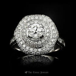 4ctw Round and Baguette Diamond Cluster Cocktail Ring in 18k White Gold