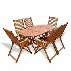 Folding Outdoor Dining Table Set Wood Patio Furniture 7 Piece Adjustable Chairs