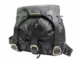 Authentic Chrome Hearts Leather Back pack Bag Black 0134