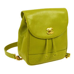 Auth CHANEL CC Logos Chain Backpack Bag Green Caviar Skin Leather Vintage A31971