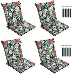 Floral Stripes Patio Cushion Set of 4 Outdoor Replacement Pads Dining Chair Pool