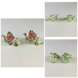 Porcelain Napkin Rings Set of 2 Roses Pink Green Spring Garden Party She Shed