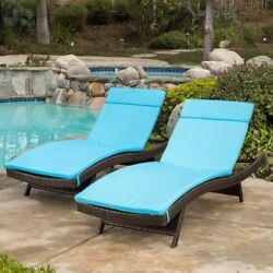 (Set of 2) Blue Cushion Pads Waterproof For Outdoor Patio Chaise Lounge Chairs