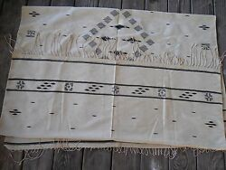 VINTAGE MEXICAN LATIN AMERICAN INDIAN WOOL FINE BLANKET RUG TEXTILE 45