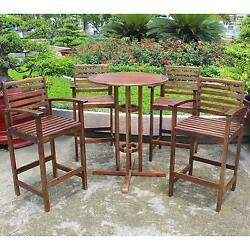 Outdoor Bar Height Bistro Patio Furniture Set Wooden Seating Area