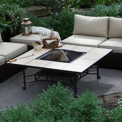 Outdoor Fire Pit Wood Burning 50 In Square Tile Table Patio Deck Yard Garden New