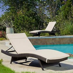 (Set of 2) Beige Cushion Pads Waterproof For Outdoor Patio Chaise Lounge Chairs