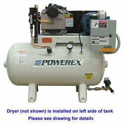 Powerex STS 5-HP 60-Gallon Oil-Less Open Scroll Air Compressor w Refrigerate...