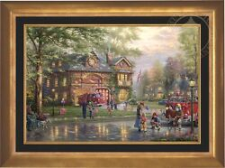 Thomas Kinkade Hometown Firehouse 24 x 36 LE EE Canvas Framed