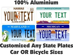 Any State Any Text License Plate Personalized Custom Auto Car Bike Bicycle Tag $17.10