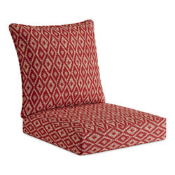 Garden Treasures Red Geometric Replacement Cushion Outdoor Patio Deep Seat Chair