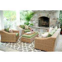 Outdoor Conversation Set 6 Piece Wicker Green Cushions Patio Yard Pool Furniture