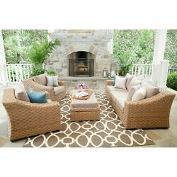 Outdoor Conversation Set 6 Piece Wicker Beige Cushions Patio Yard Pool Furniture