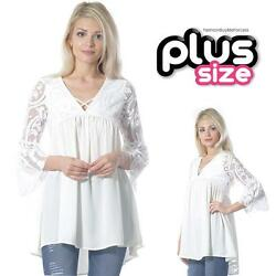 PLUS Boho Ivory Sheer Lace Bell Sleeve Paisley Chiffon Swing Tunic Top 1X 2X 3X $32.75