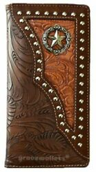 Star Mens Wallet Western Bifold Check Book Style W011 1 Daffodils Brown $14.99