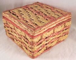 Vintage JAPAN Wood  Wicker Sewing Basket with Supplies Notions