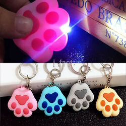 Small Cat Paw Pendant LED Light Key Chain With Sound Torch Keyring Keyfob Gift $1.77