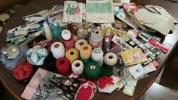 Large Vintage SEWING Estate Lot Thread Patterns Zippers Pin Cushions Supplies