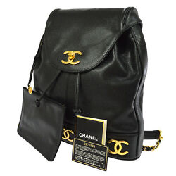 Authentic CHANEL CC Chain Backpack Bag Black Caviar Skin Leather Vintage AK13946