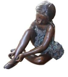Large Bronze Sculpture - Seated Girl - Ballerina - Ballet - Two Tone Patina