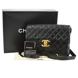 Authentic CHANEL Quilted CC Jumbo Chain Backpack Bag Black Leather VTG JT05205