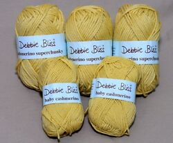 Debbie Bliss Cashmerino Baby 340506 & Superchunky 16016 Acid Yellow 5 Skeins Lot