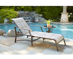 Patio Chaise Lounge w Padded Seat Back Chair Recline Outdoor Pool UV Protected