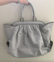 Authentic Vintage Fendi Leather Light Gray Large Shoulder Bag Made In Italy