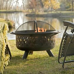 Outdoor Fire Pit Wood Burning W Cover 36 Inch Portable Patio Backyard Bronze New