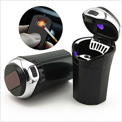 Portable Car Cigar Cigarette Lighter Ashtray Smokeless Blue LED Light USB Charge