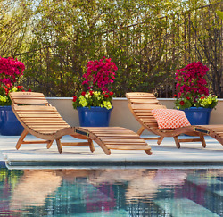 Wood Chaise Lounge Chairs Set of 2 Folds Flat For Easy Storage Garden Patio Pool