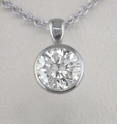 Diamond Solitaire and Platinum Pendant 0.70ct Certified D IF Ex Round Bezel Set