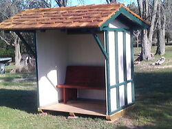 Outdoor Yard Shelter Bus Stop 1890 Railroad Design Portable Shed w Bench
