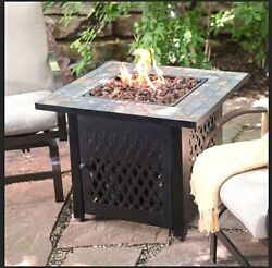 Fire Pit Table Propane LP Gas Patio Heater Outdoor Fireplace Furniture wCover