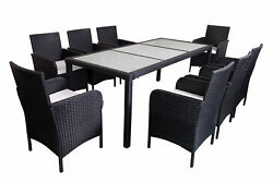 Outdoor Patio Rattan Wicker Furniture Dining Table Chair set 7pc9pc Cushioned