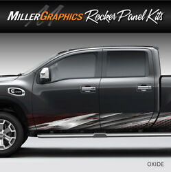 Oxide Metal (Red) Rocker Panel Graphic Decal Wrap Kit Truck SUV - 4 Size Options