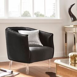 Chair Living Room Seating Velvet Curved Back Acrylic Leg Accent