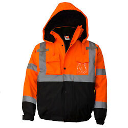 Class 3 Hi Viz Reflective Insulated Waterproof Winter Safety Jacket-WJ901112
