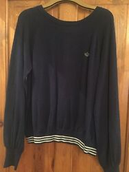 Adidas Originals navy women's jumper with back buttons - size 42 - worn once